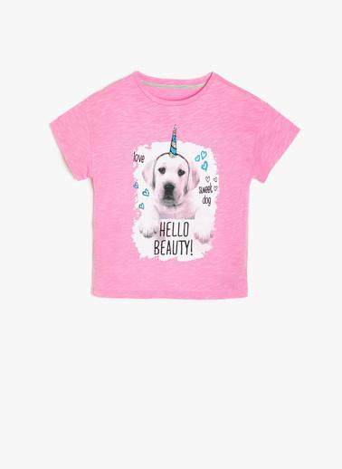 Koton Kids Koton Kids Love T-Shirt Pembe